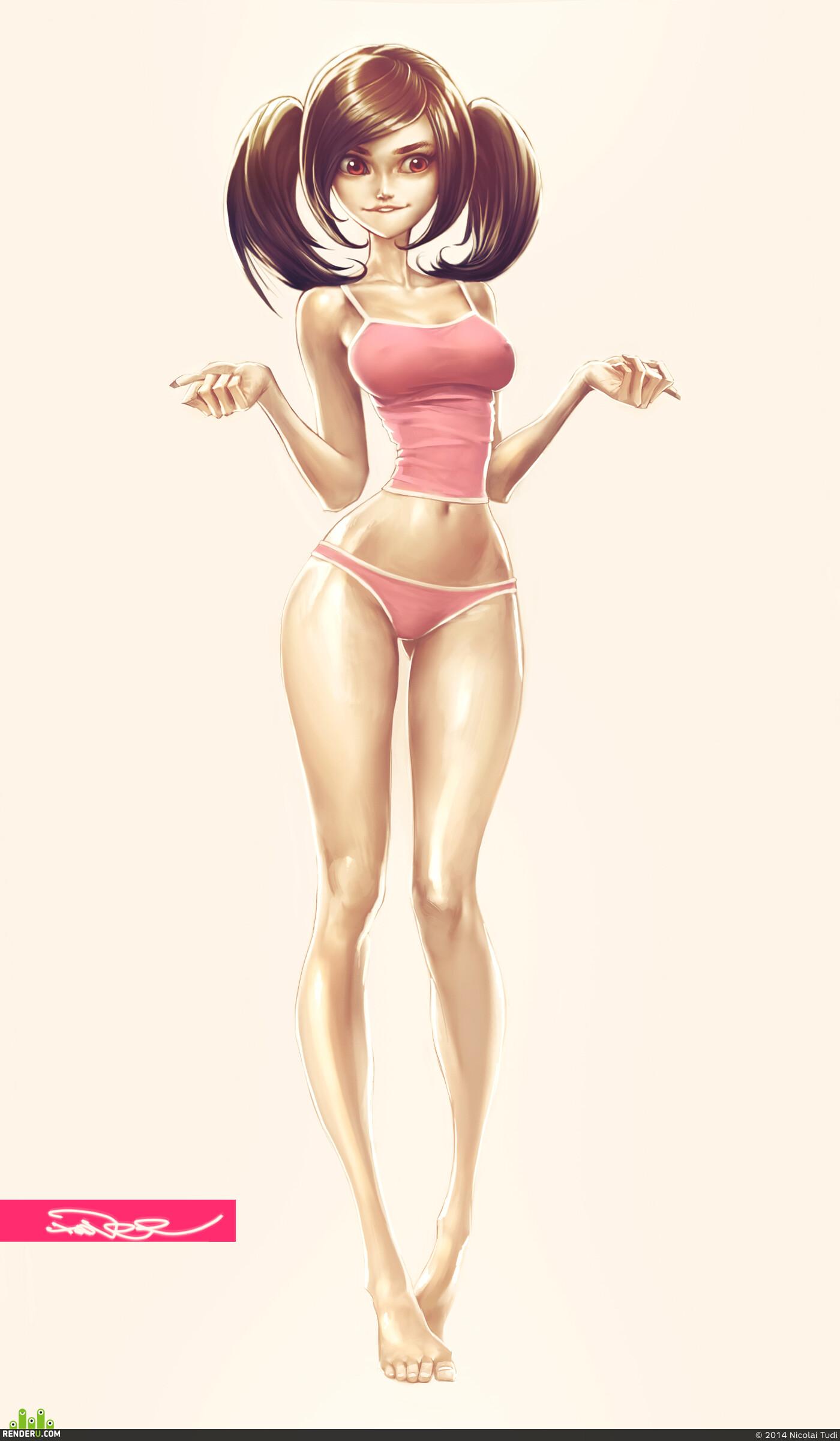 Naked girl cartoon characters