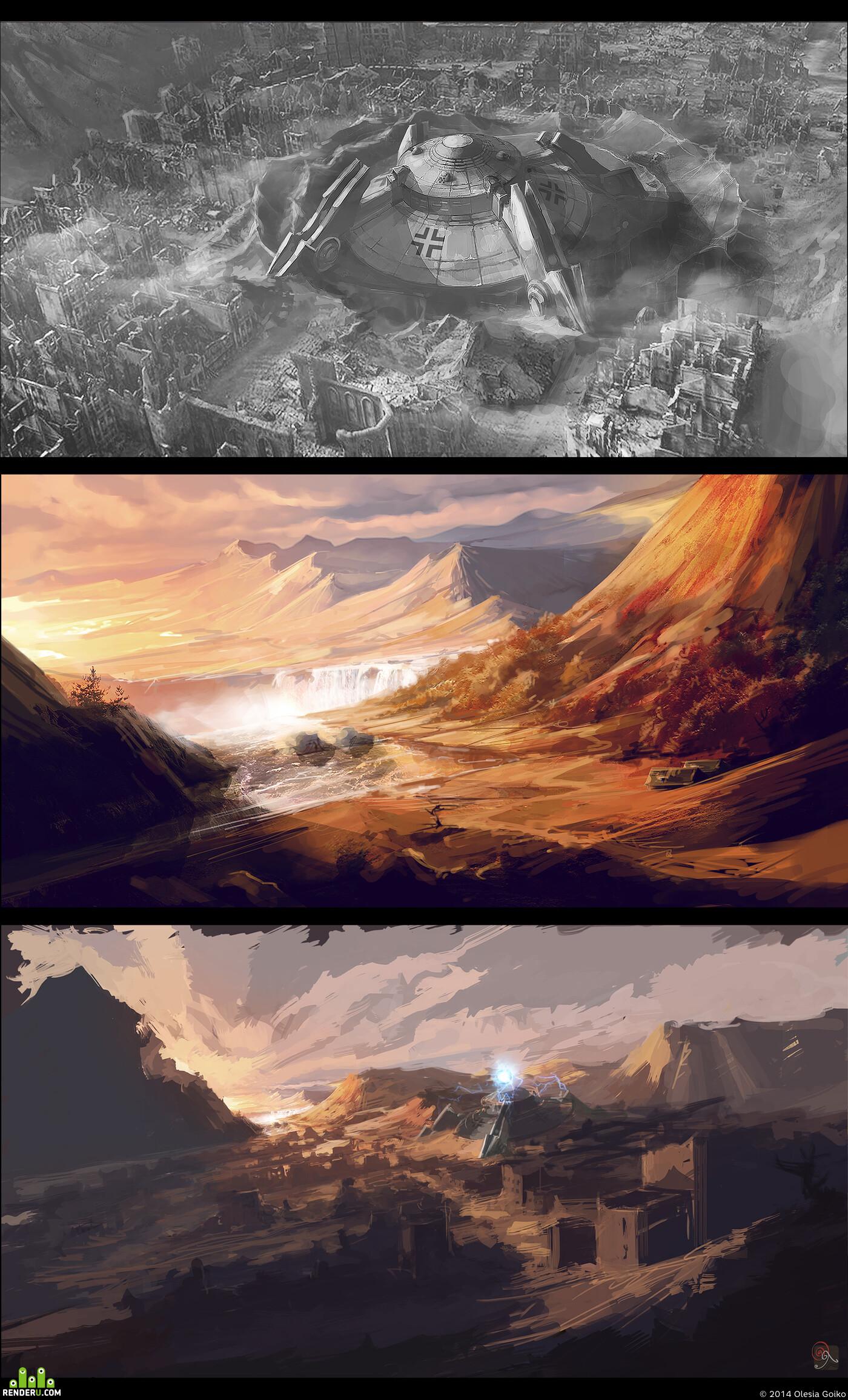 Концепт-арт, Танки, Пейзаж, альтернативная реальность, осень, горы