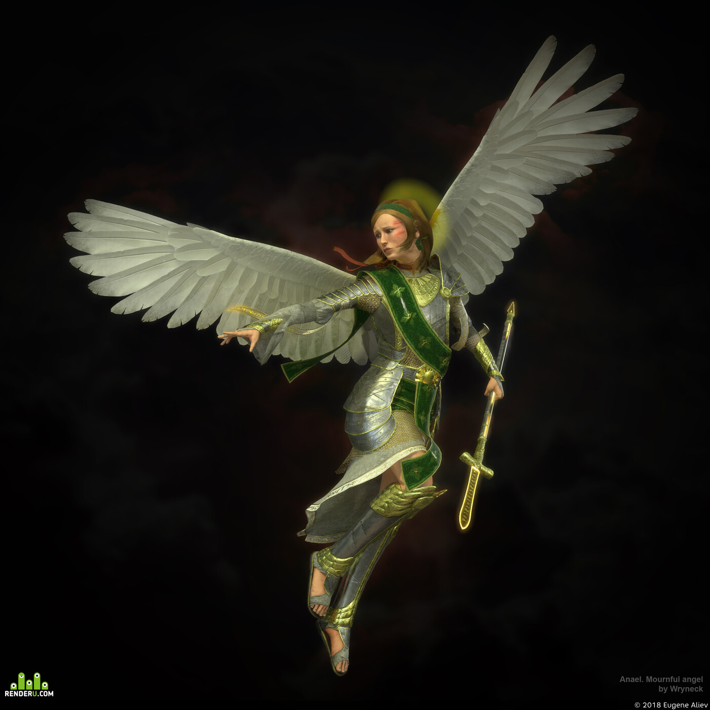 Character, game art, low-poly, angel
