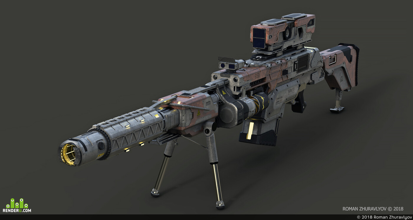 Digital 3D, Science fiction, weapons, military, hardsurface, sniper, ROMANZHURAVLYOV, Industrial Design, tech, Concept art