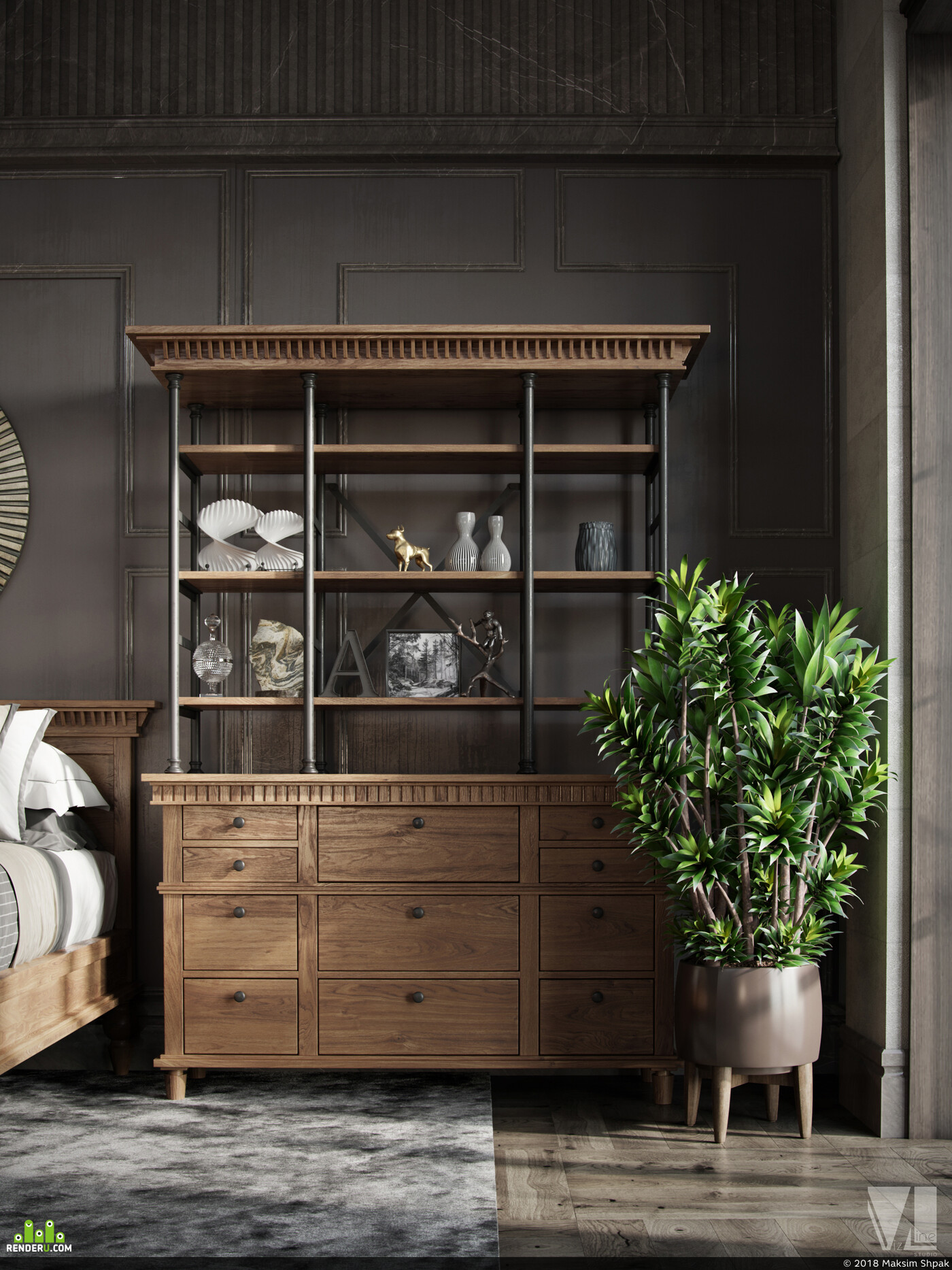 3dmax, Corona Renderer, Photoshop, vizlinestudio, дизайн интерьера, дизайн мебели, дизайн спальни, дизайн, Визуализация, лофт
