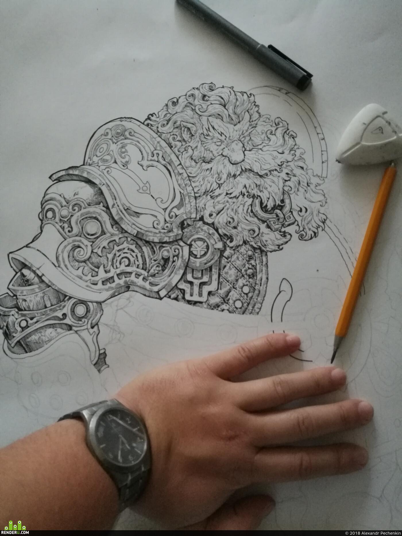 Littledruid, Картун (Cartoon), ConceptartistRPG, concept-art, inktober