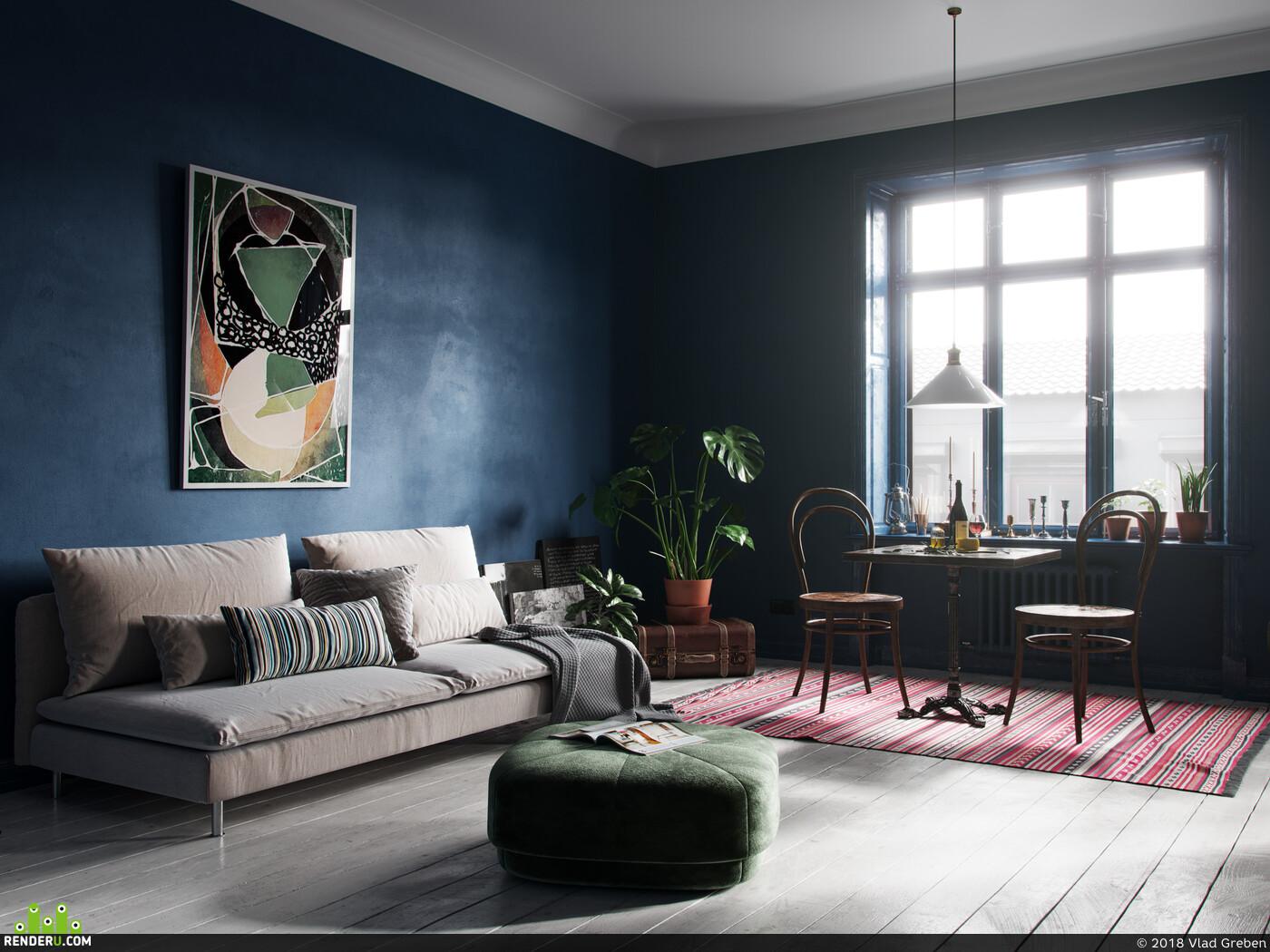 Cinema4D, Corona Renderer, scandinavian, interior, blue