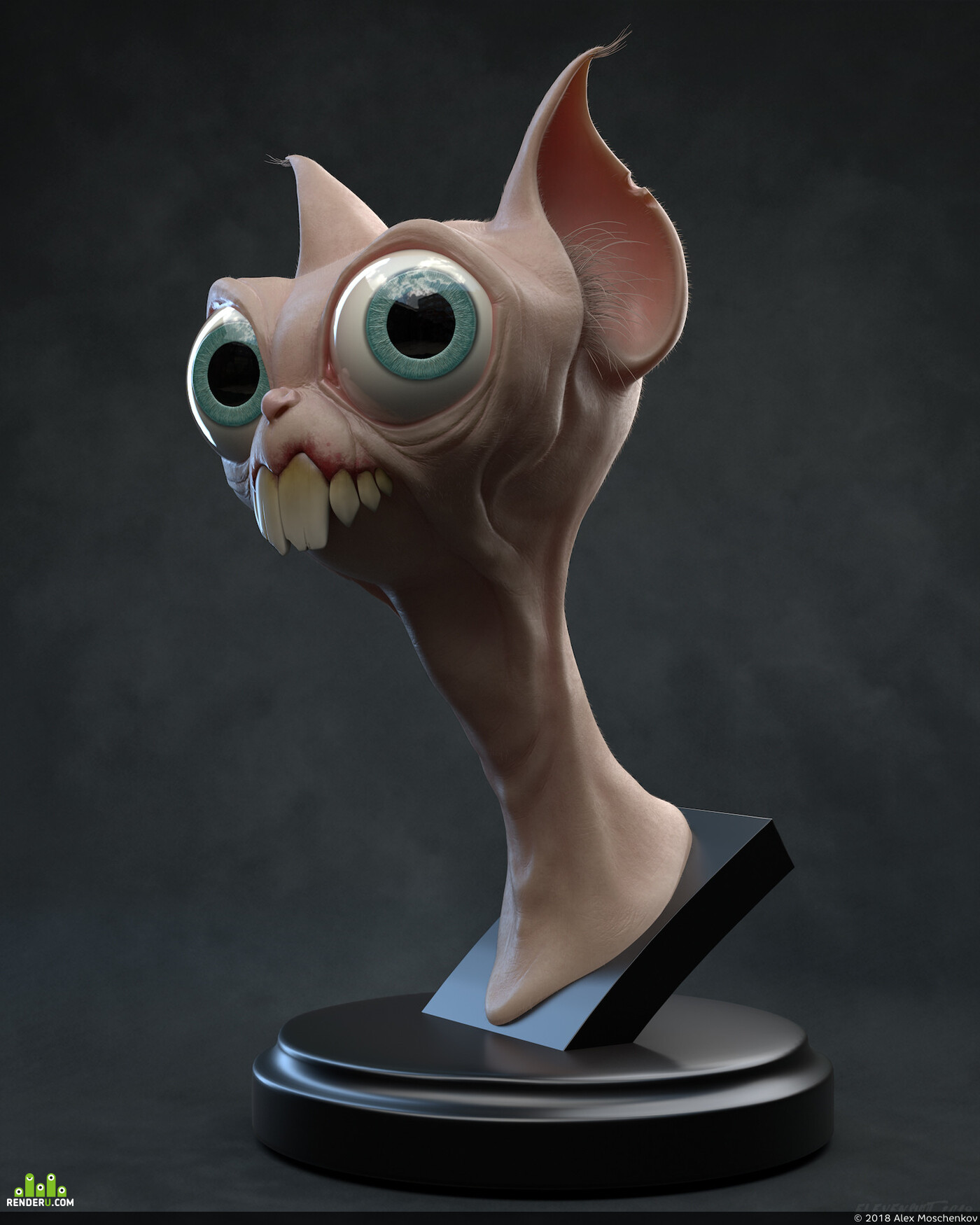 cat, creature, Character, sculpting, ZBrush, squirrel, eyes, teeth, skin, statue