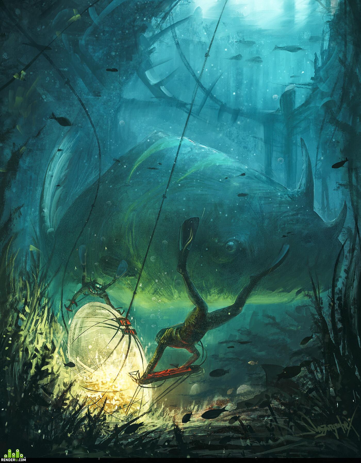 окружение, Концепт-арт, подводный мир, рыба, создание, водолаз, яйцо, икра