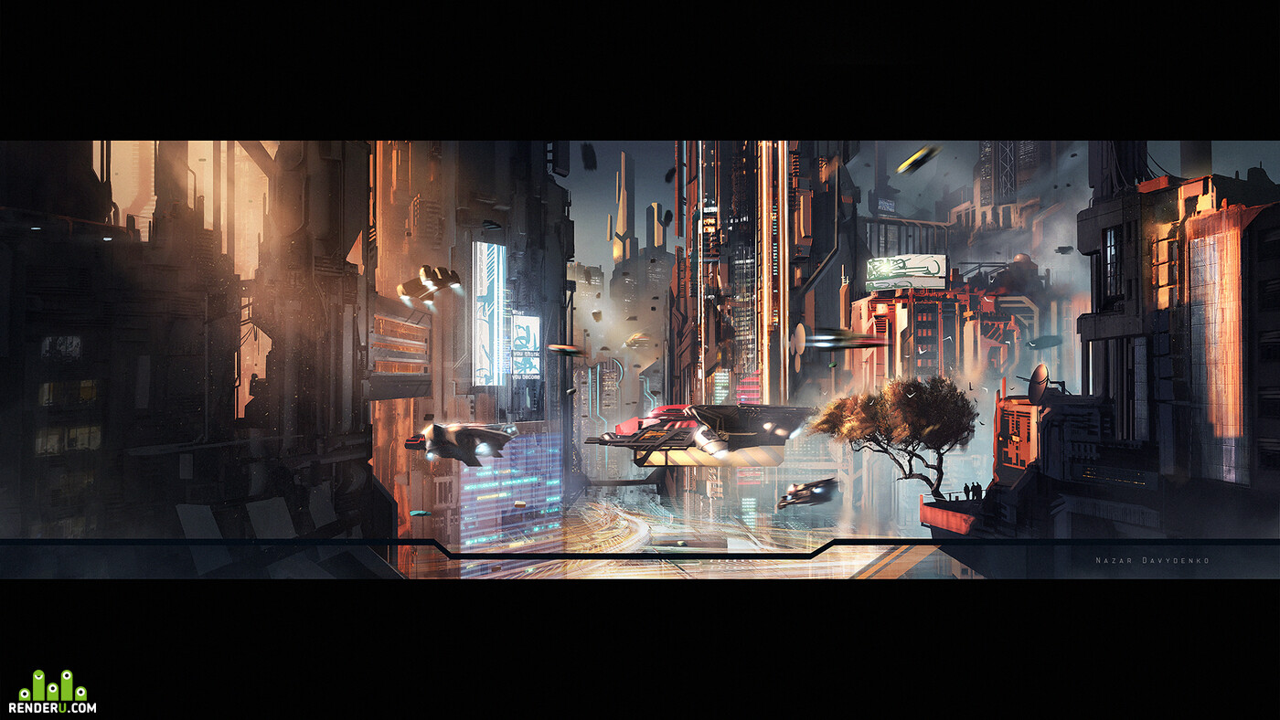 cityscape, Science fiction, neon, cyberpunk, futuristic, drone, Spaceship, game environment design movie frame, skyscrapers, vehicles flying tree nature city