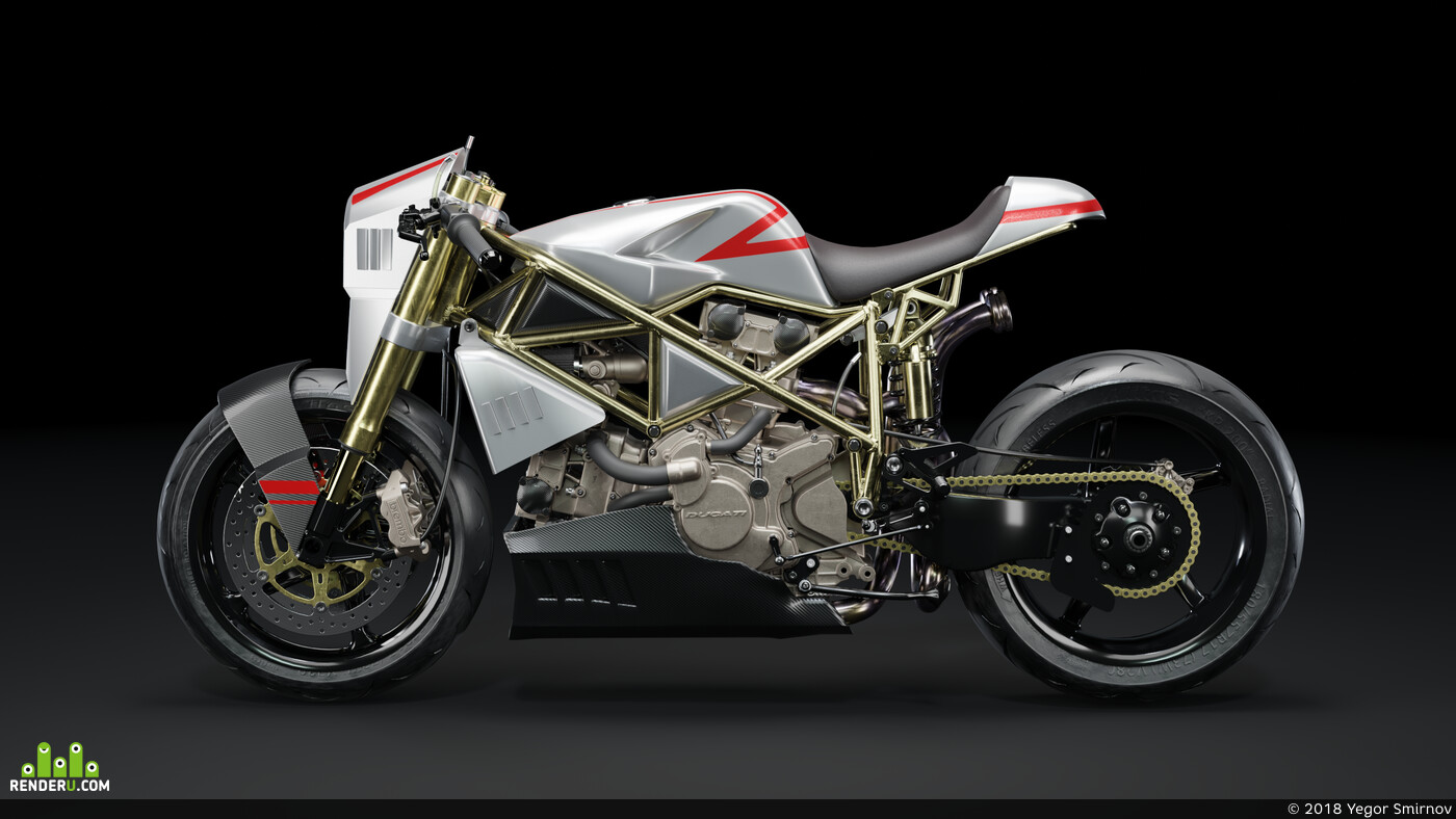 Blender, cycles, motorcycle, bike, ducati, custom, visualization