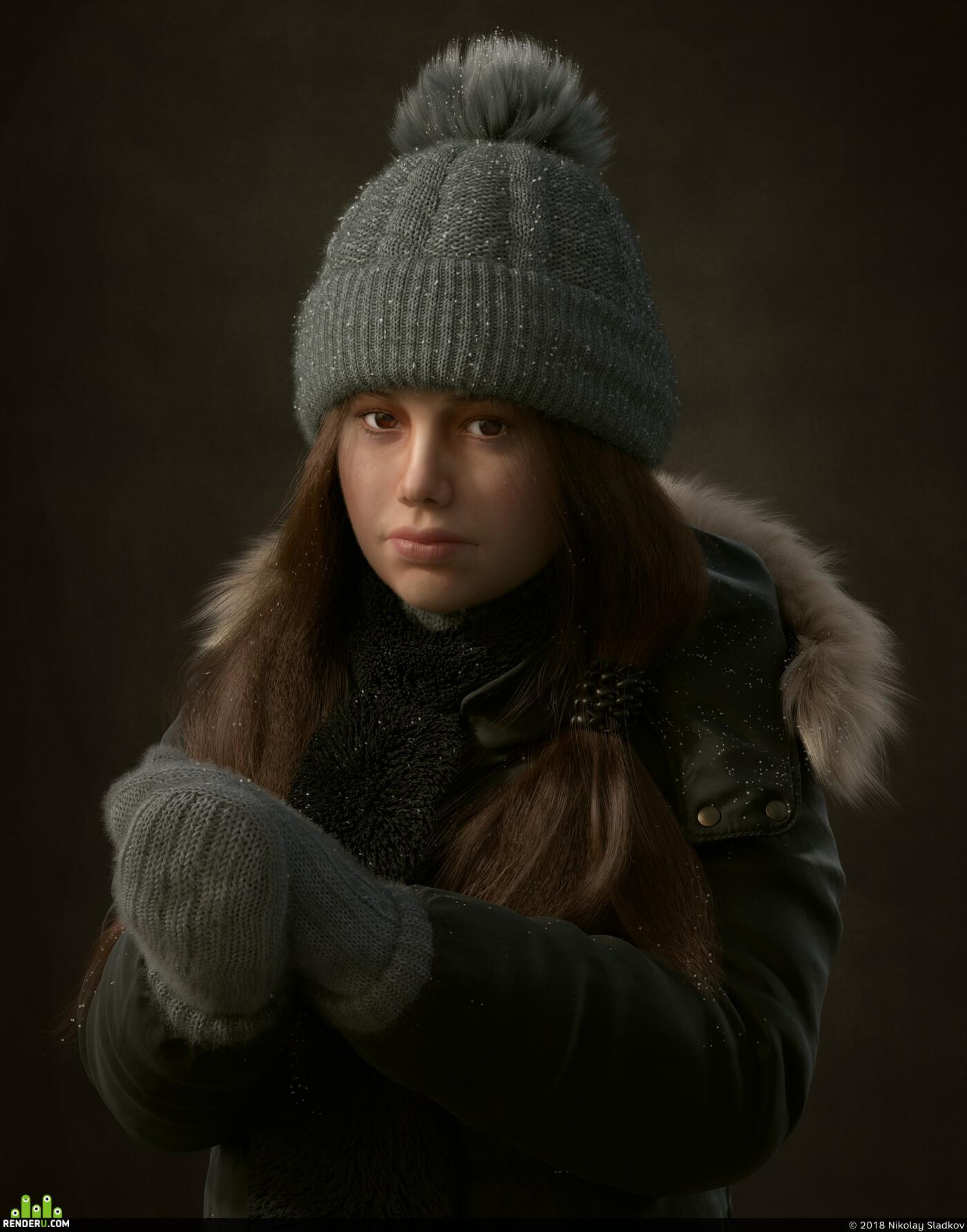 Портрет, девочка, персонаж, 3д персонаж