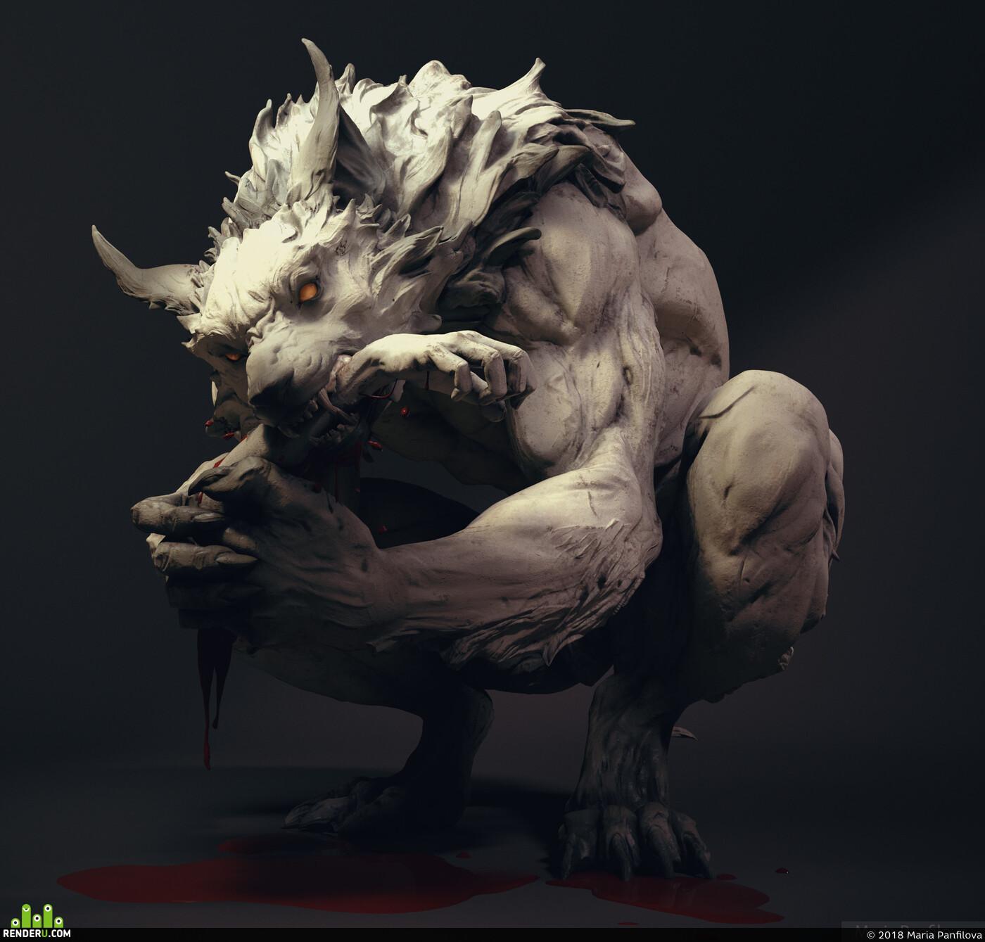 Werewolf, monster, Wolf, dog, beast, sculpture