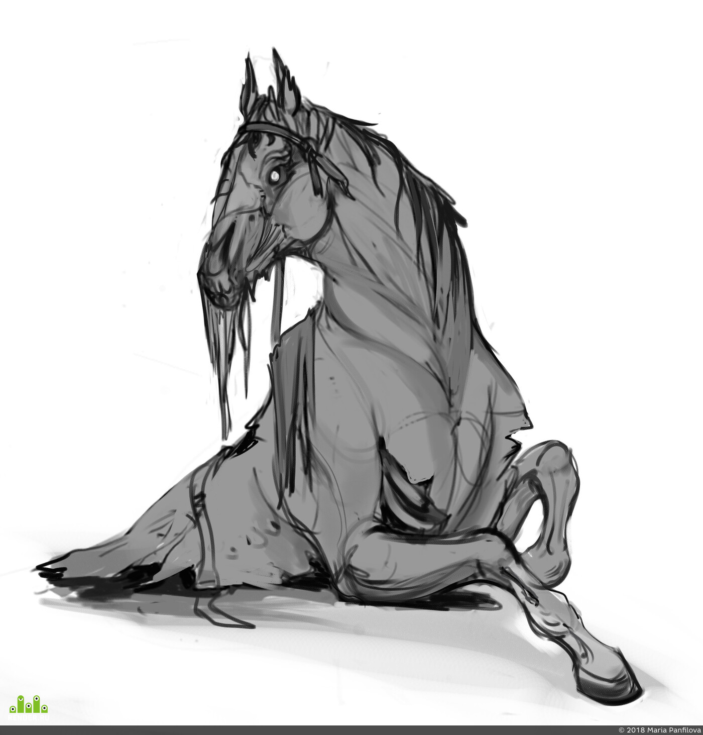 horse, zombie, undead, animal, sculpture