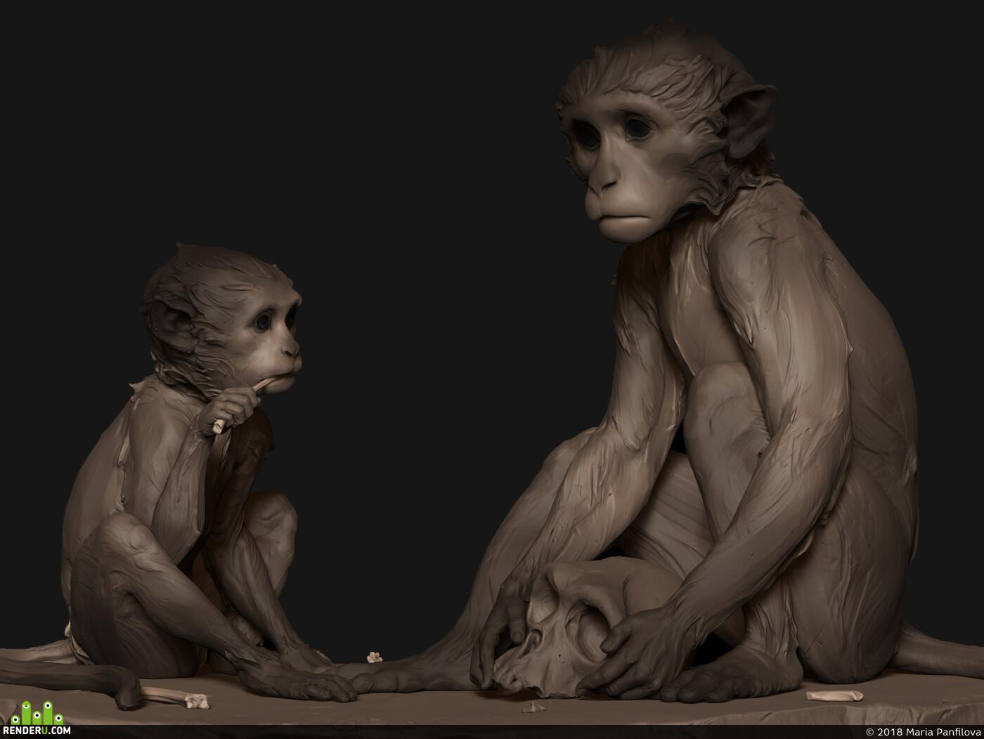 Обезьяна, Макака, Эмоции, скульптура, Животные