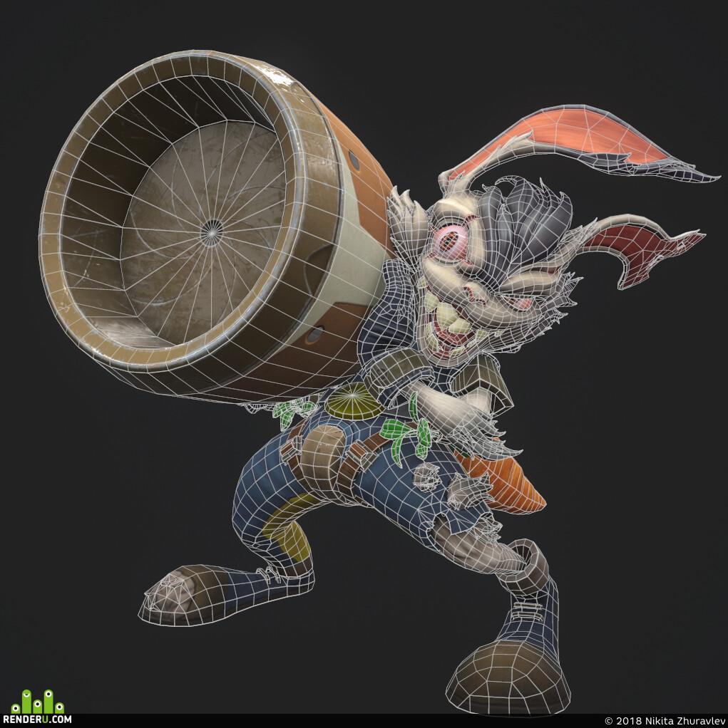 fanart, crazy, carrot, bunny, rabbit, gameart, lowpoly