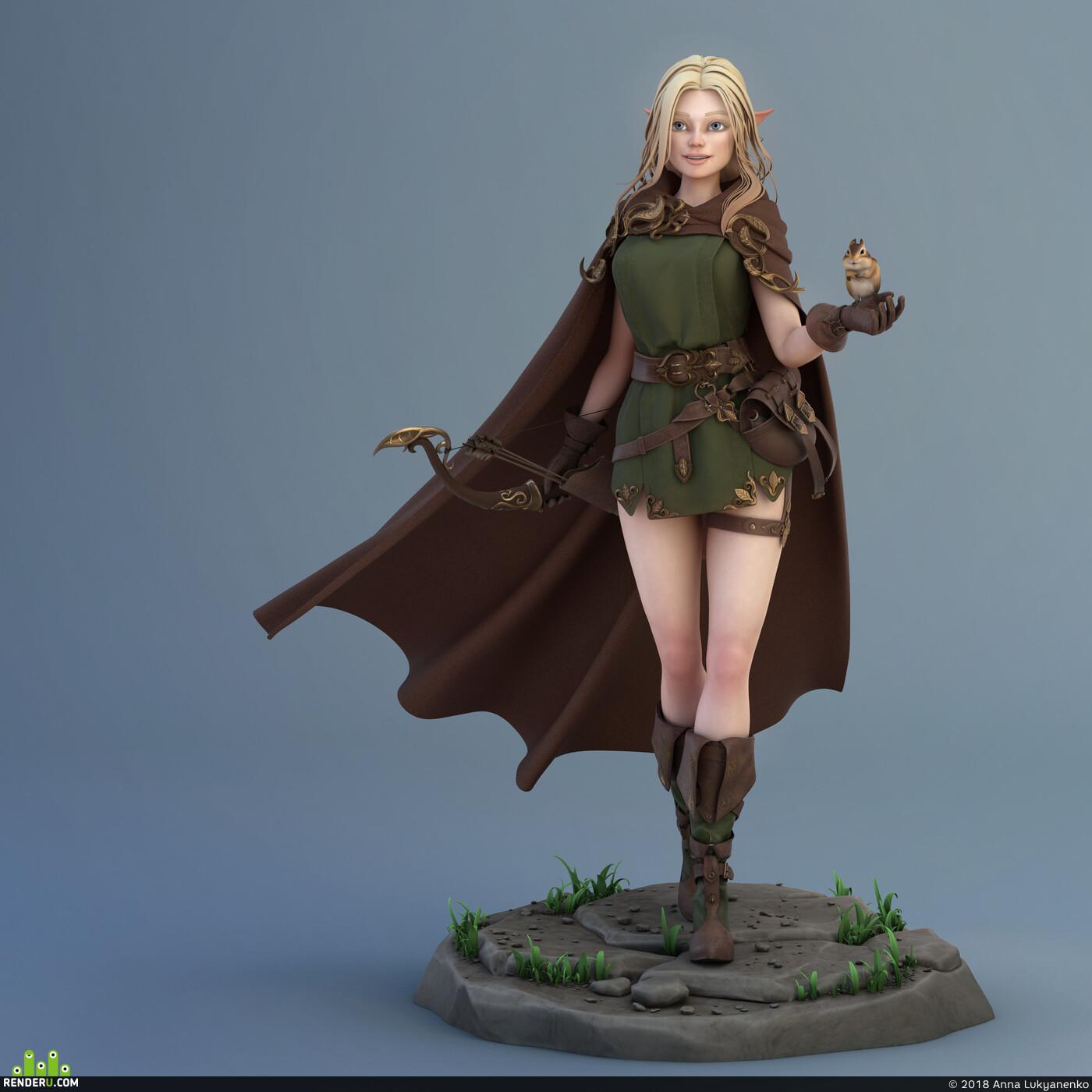 girl, 3dmodel, Characters, fantasy