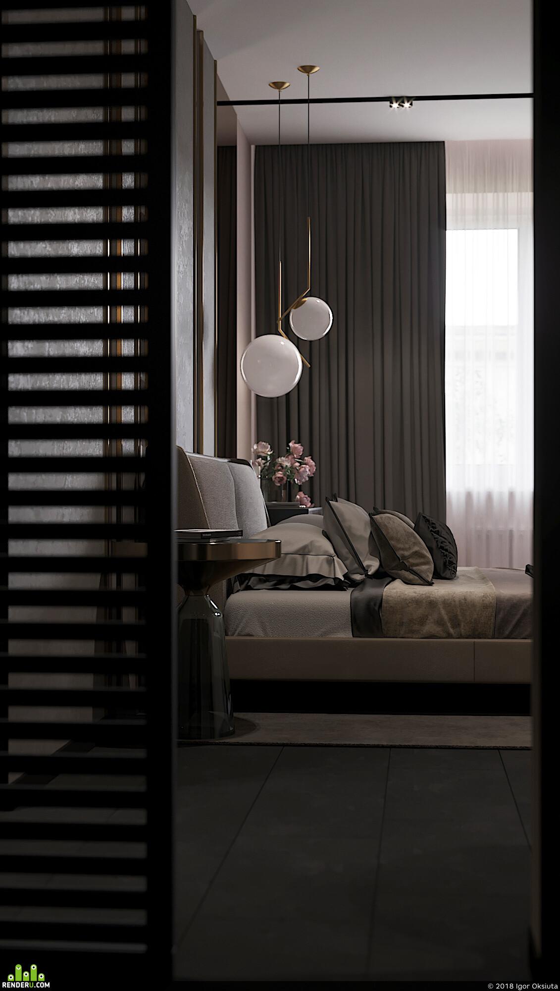 3д визуализация, интерьер, коронаренедер, Спальня, дизайн интерьера