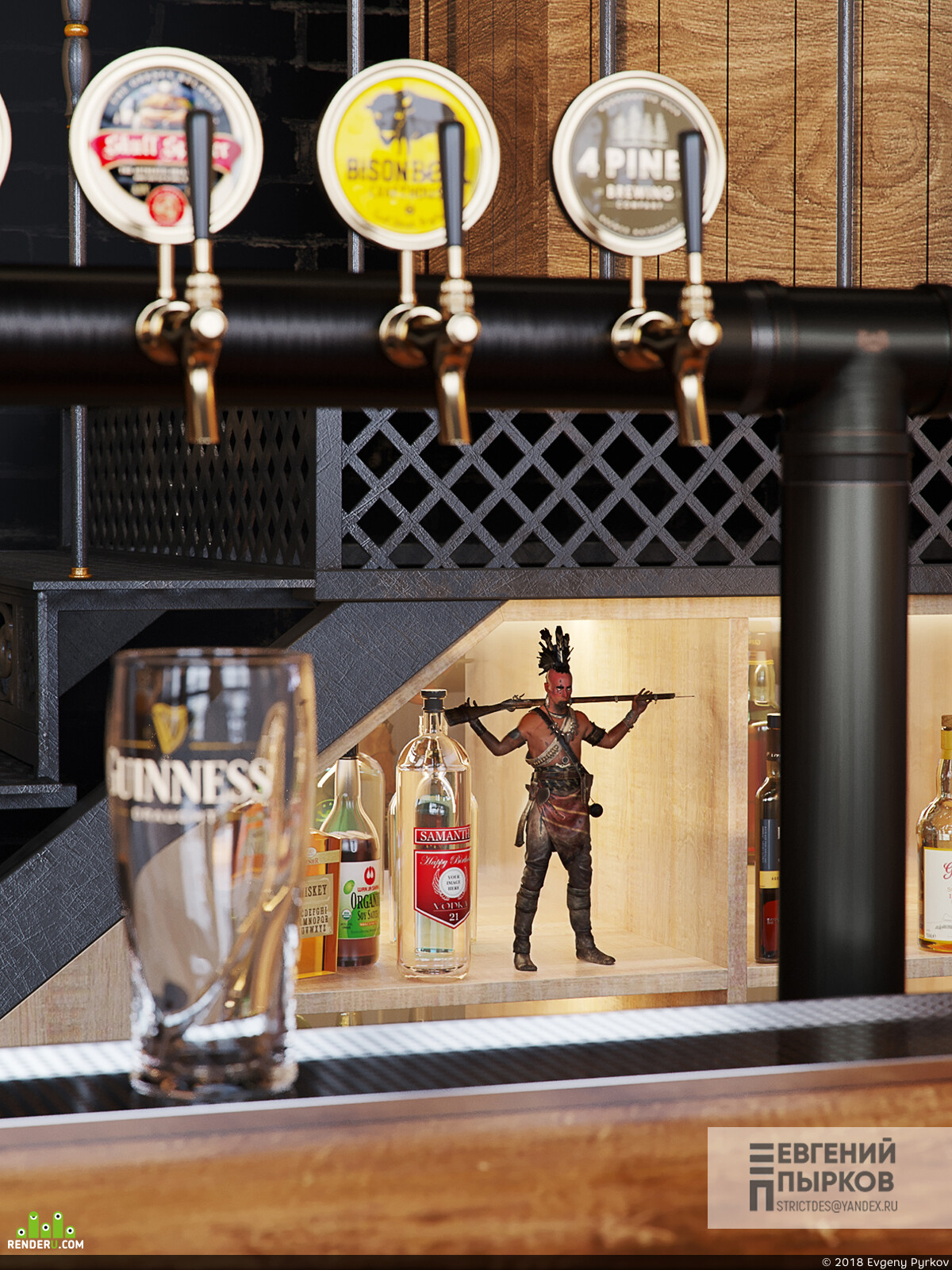 Bar, loftstyle, interior interior design design 3D 3D Studio Max 3D архитектура интерьер дизайн интерьера интерьер, visualization