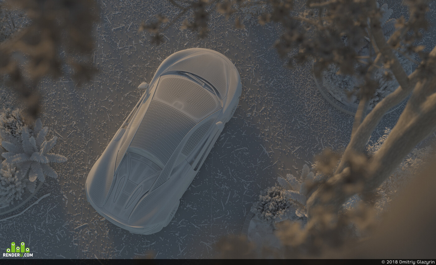 car, mclaren, tree, jacaranda, flowers, sunset, glazyrin, cgi, process