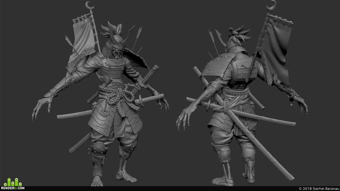 Персонажи, Персонаж, игровой персонаж, 3д персонаж, самурай, Фэнтези