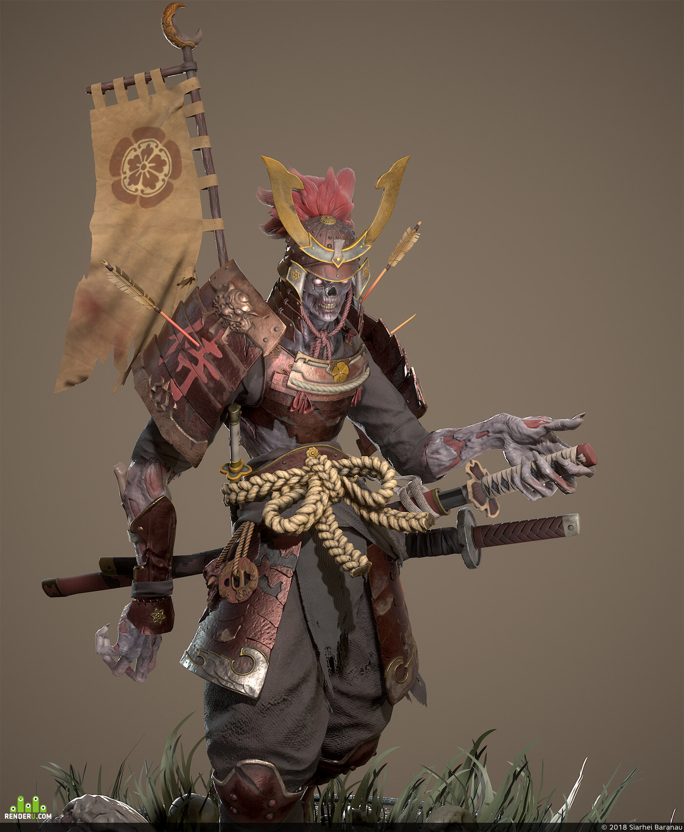 game art, gameart, game character, gamedev, samurai, zombie, Game Low-poly