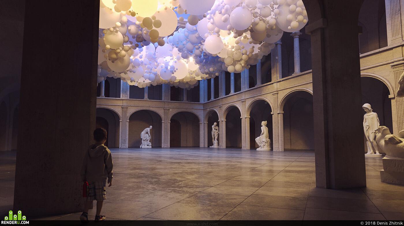 aura, museum, rendering, design