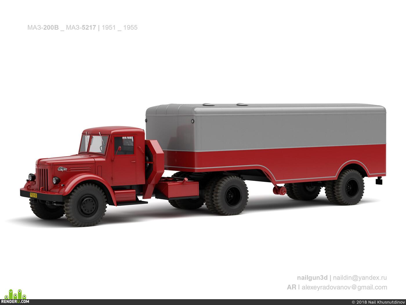 маз, седельник, ретро, ссср, грузовик