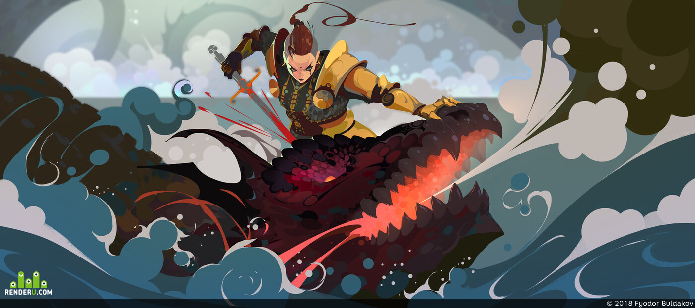 dragon, dragons, hunter, Fantasy, fantasy creature, Illustration