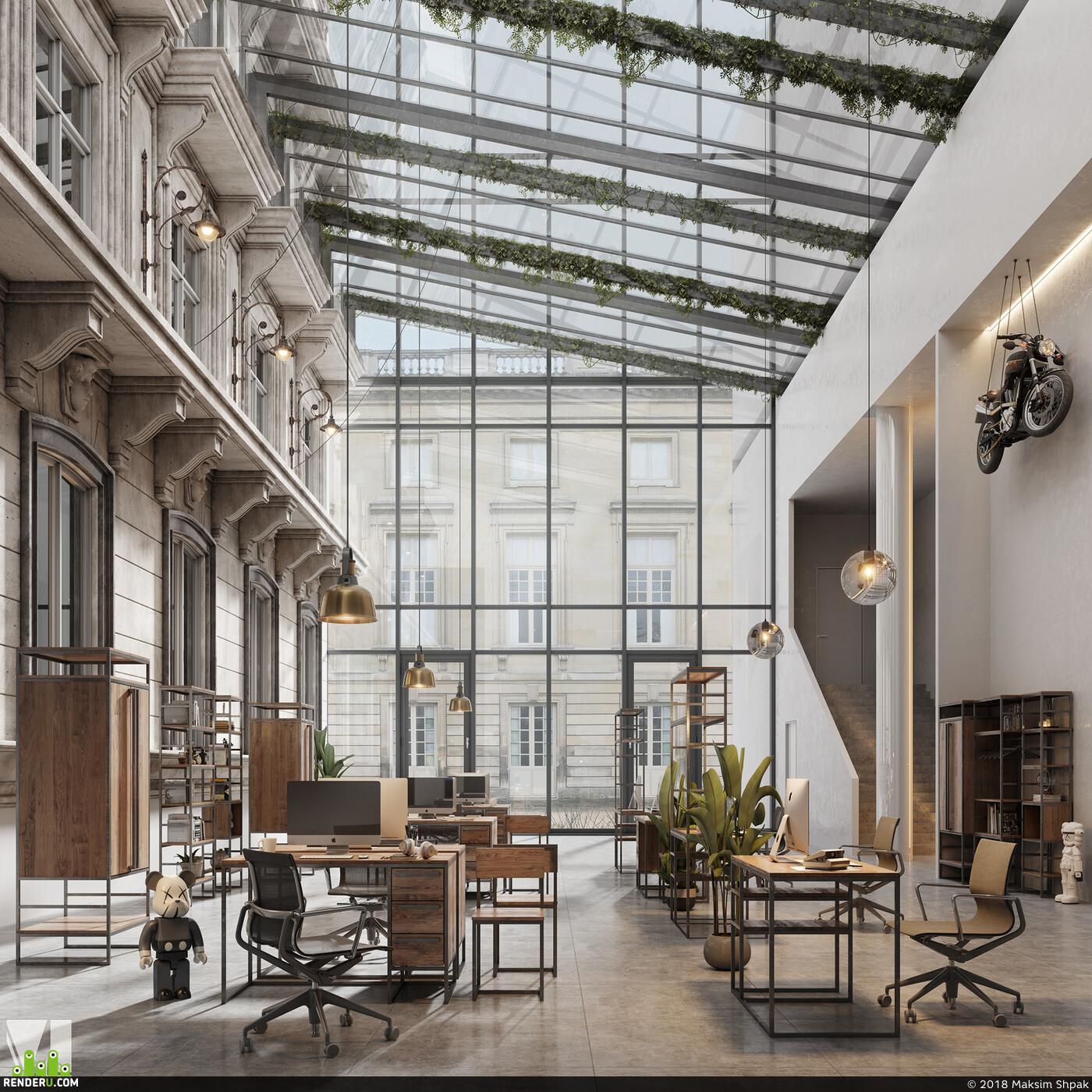 лофт, Предметная визуализация мебели, мебель, 3д визуализация, интерьер, дизайн интерьера