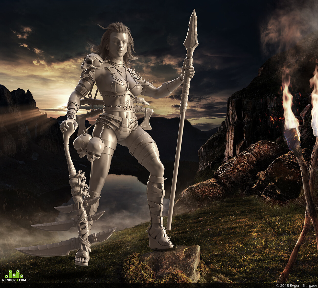 Matte painting, girl warrior, sunset, mountain