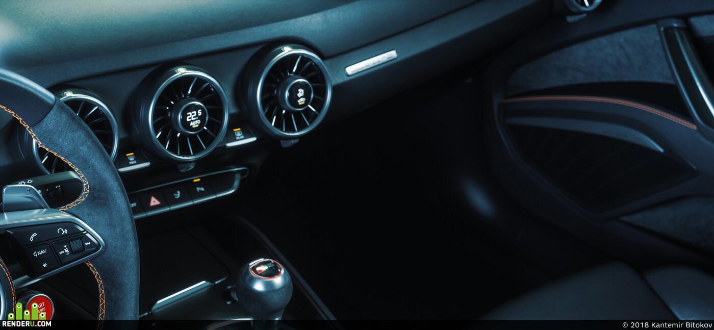 2017, Audi, TT, RS, Roadster, interior