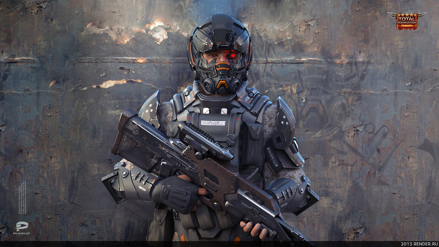 digital 3d, character, military, soldier, sci-fi, game art, Plarium