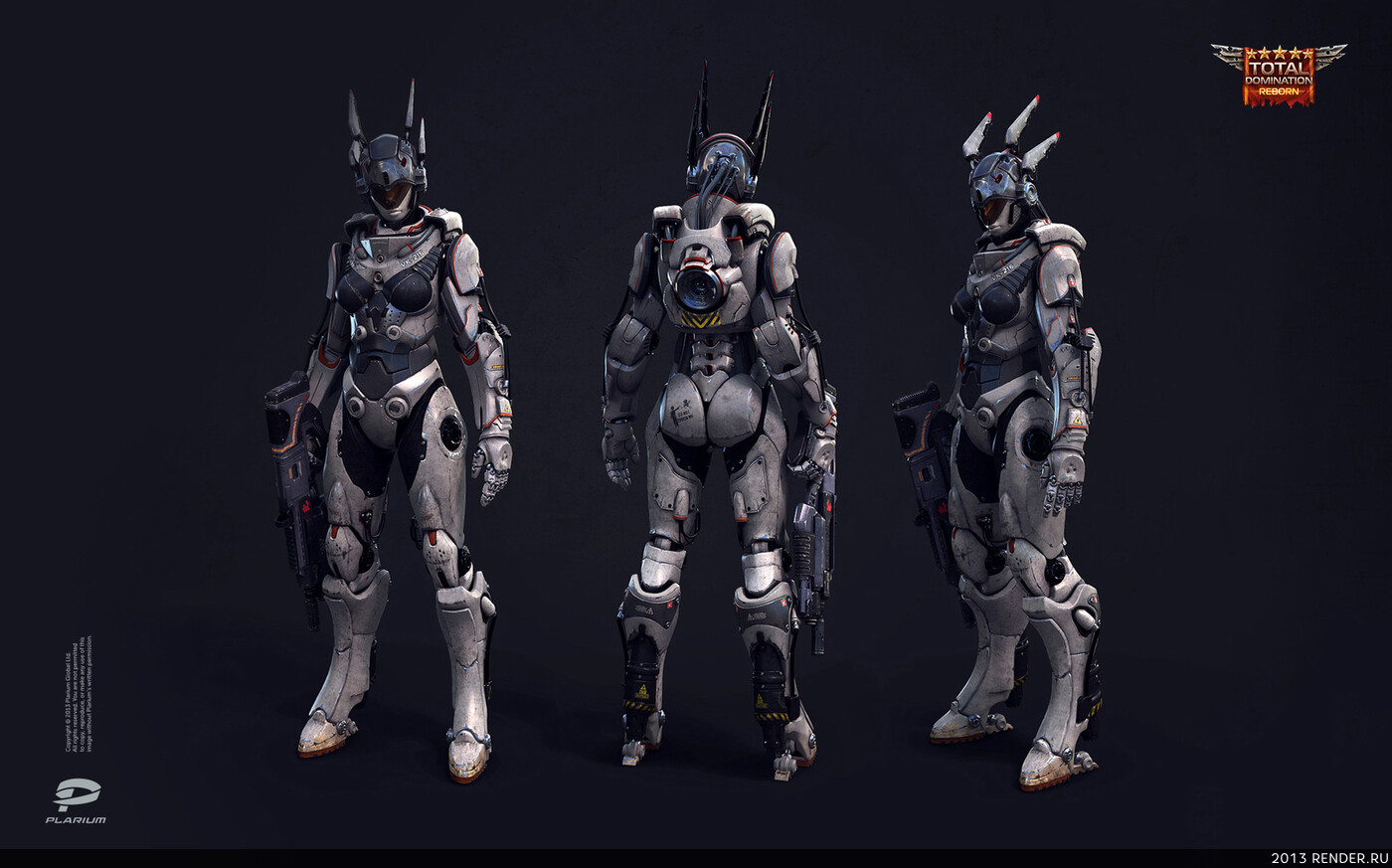 digital 3d, character, game art, Plarium, cyborg, robot, sci-fi