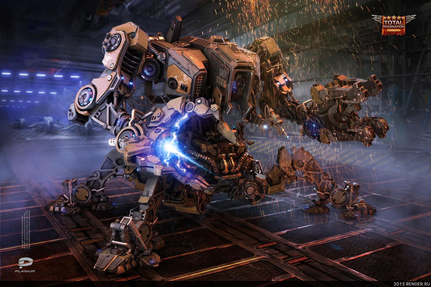 digital 3d, game art, military, Plarium, robot, sci-fi