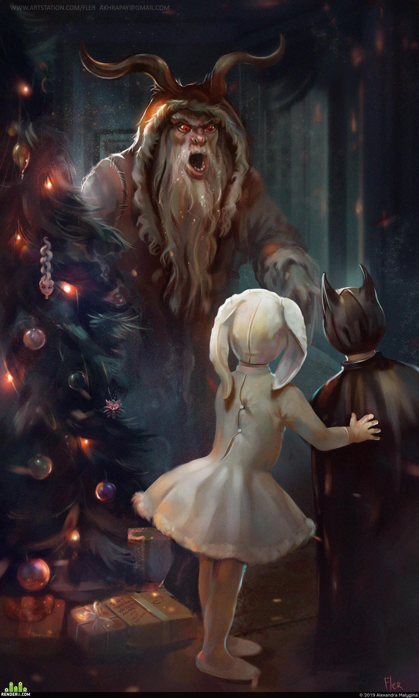 новый год, дед мороз, Крампус, ужасы, Иллюстрация, страх, рождество, дети, костюми, фентези