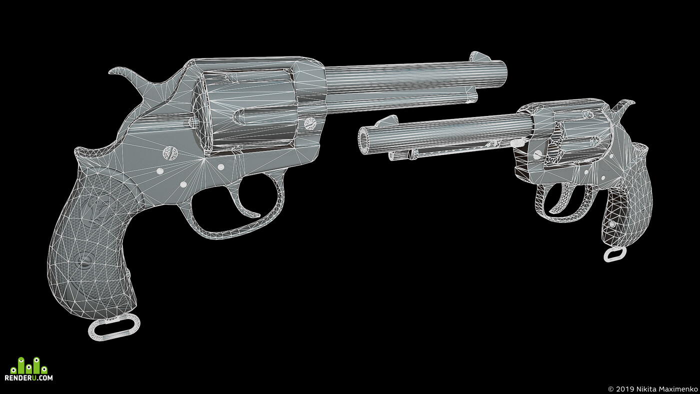 Blender, game asset, gun