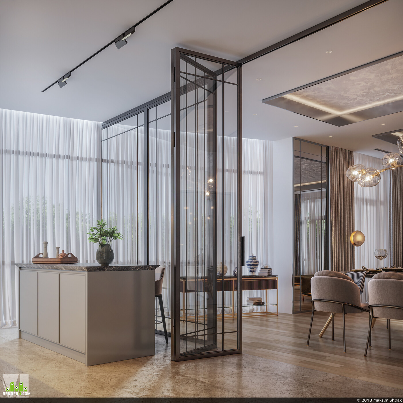 apartment, interiordesign, 3Dsmax, luxury, vizlinestidio, vizualization, visualization interior interior visualization