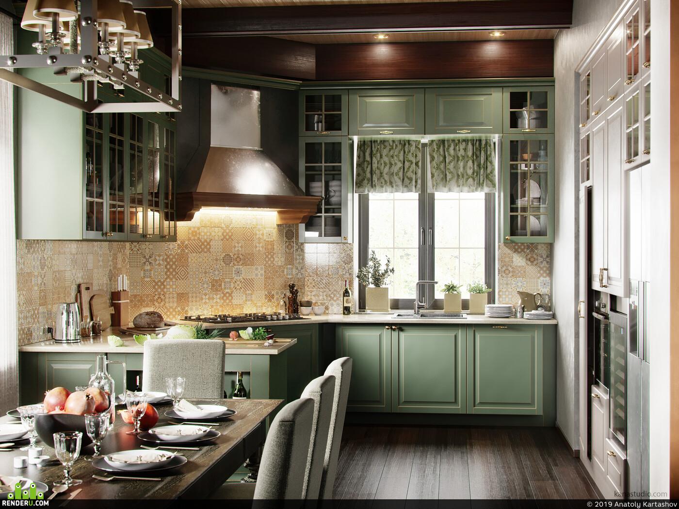 3Dsmax, Corona Renderer, interior, интерьер, Adobe Photoshop