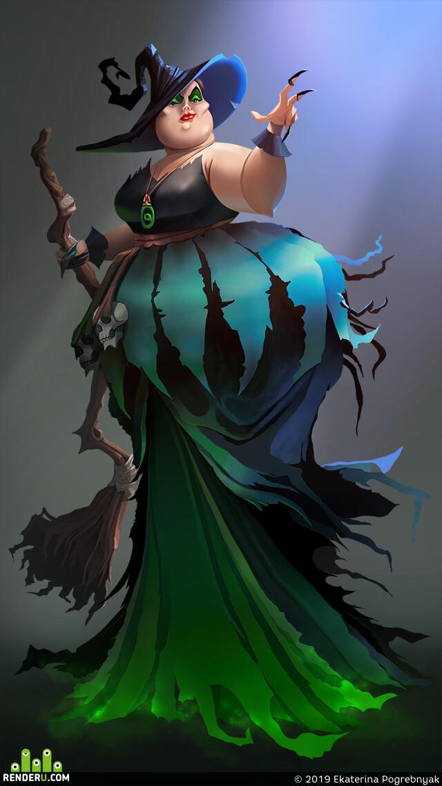 ведьма, Персонаж, игровой персонаж, женскийперсонаж, дизайн персонажа