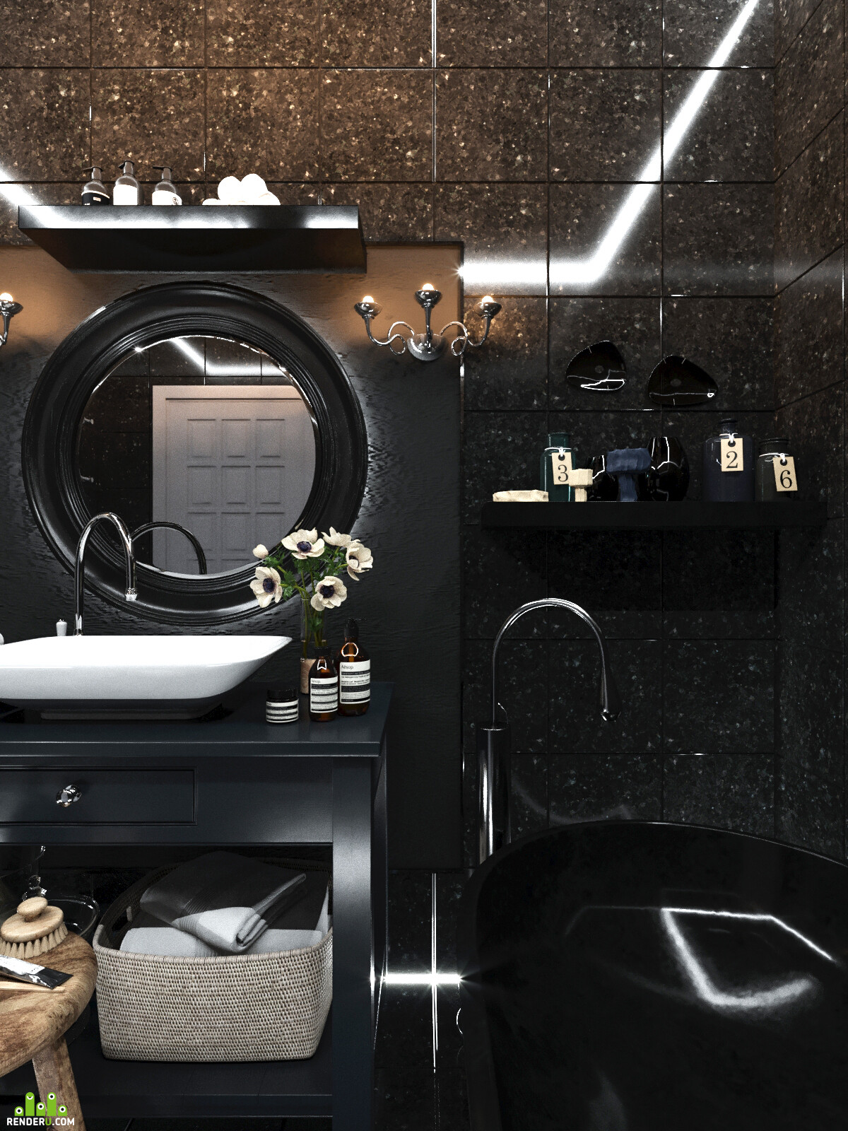визуализация, 3д визуализация, 3d визуализация, Интерьерная визуализация, визуализация ванной, визуализация интерьера, дизайн ванной, готический стиль