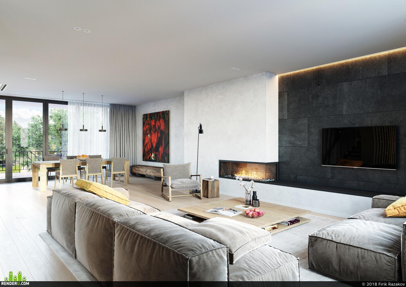 townhouse, cgi, Corona Renderer, visualization, livingroom, diningroom, kitchen, close up, камин, open space
