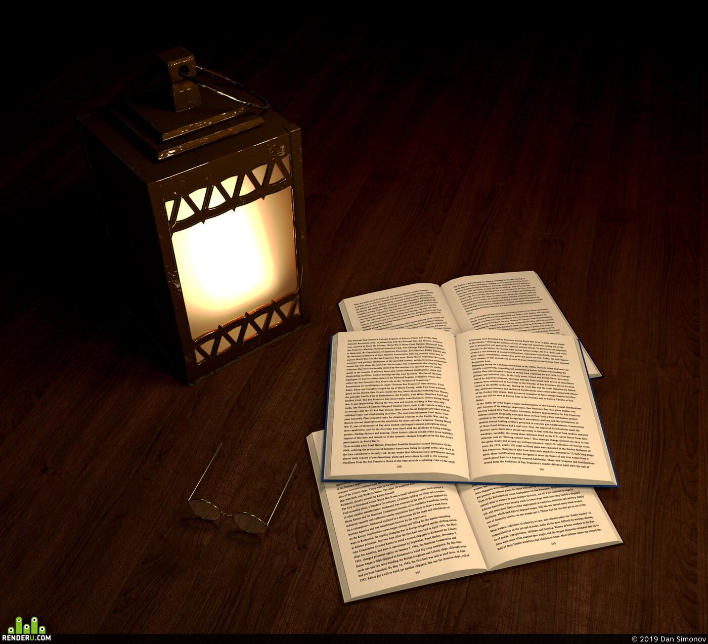 фонарь, стол, очки, книги, книга, Железо, лампа