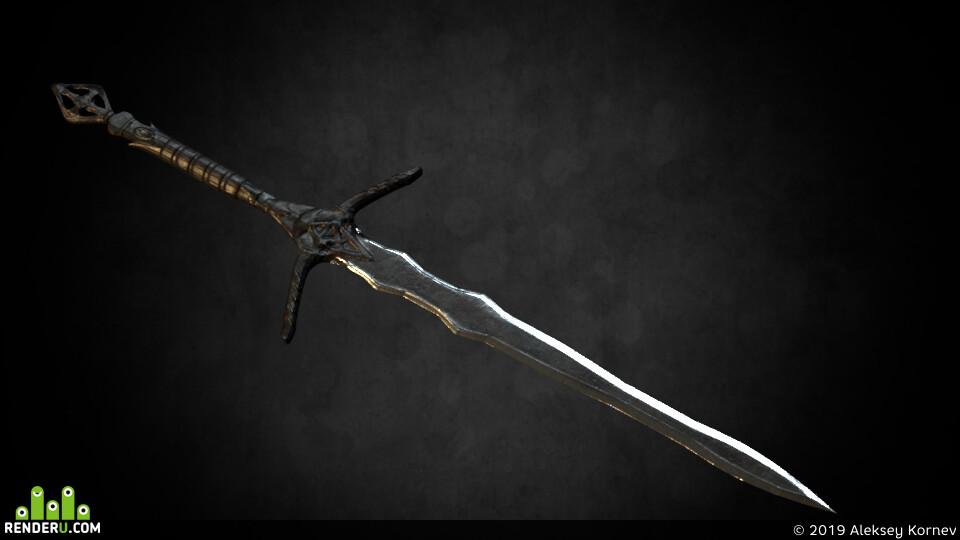 меч, скульптинг, цифровое искусство, скульптура, цифовое_искусство, Скулпьтура, sculpting, sword
