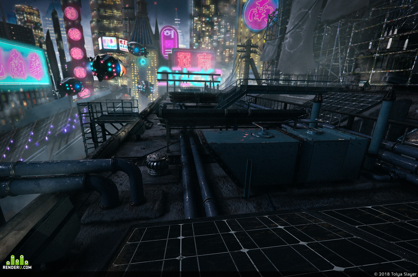 concept-art, 3dconcept, concept, Matte Painting, night city, cyber city, cyber punk