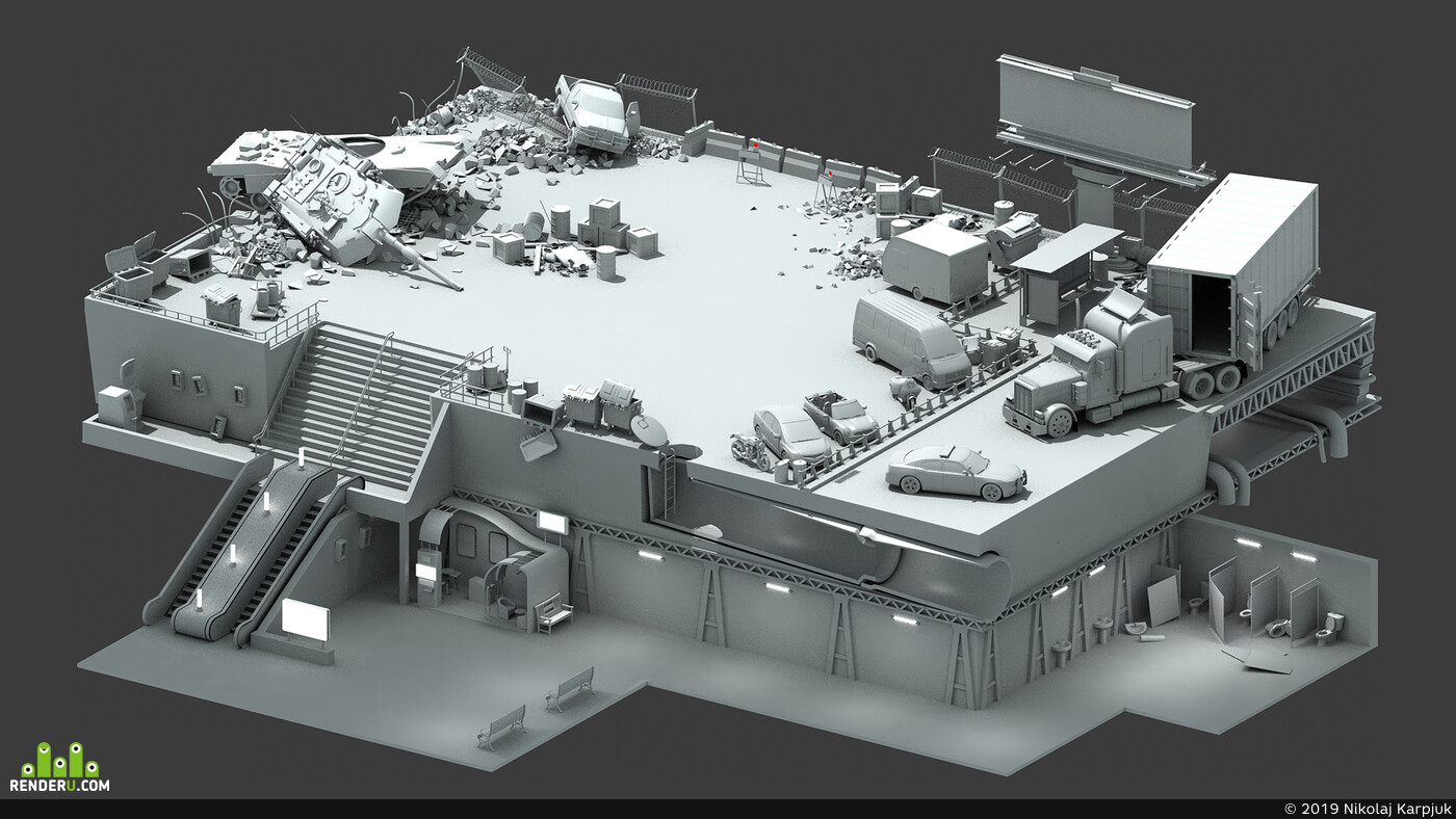 level, 3d, game, game concept