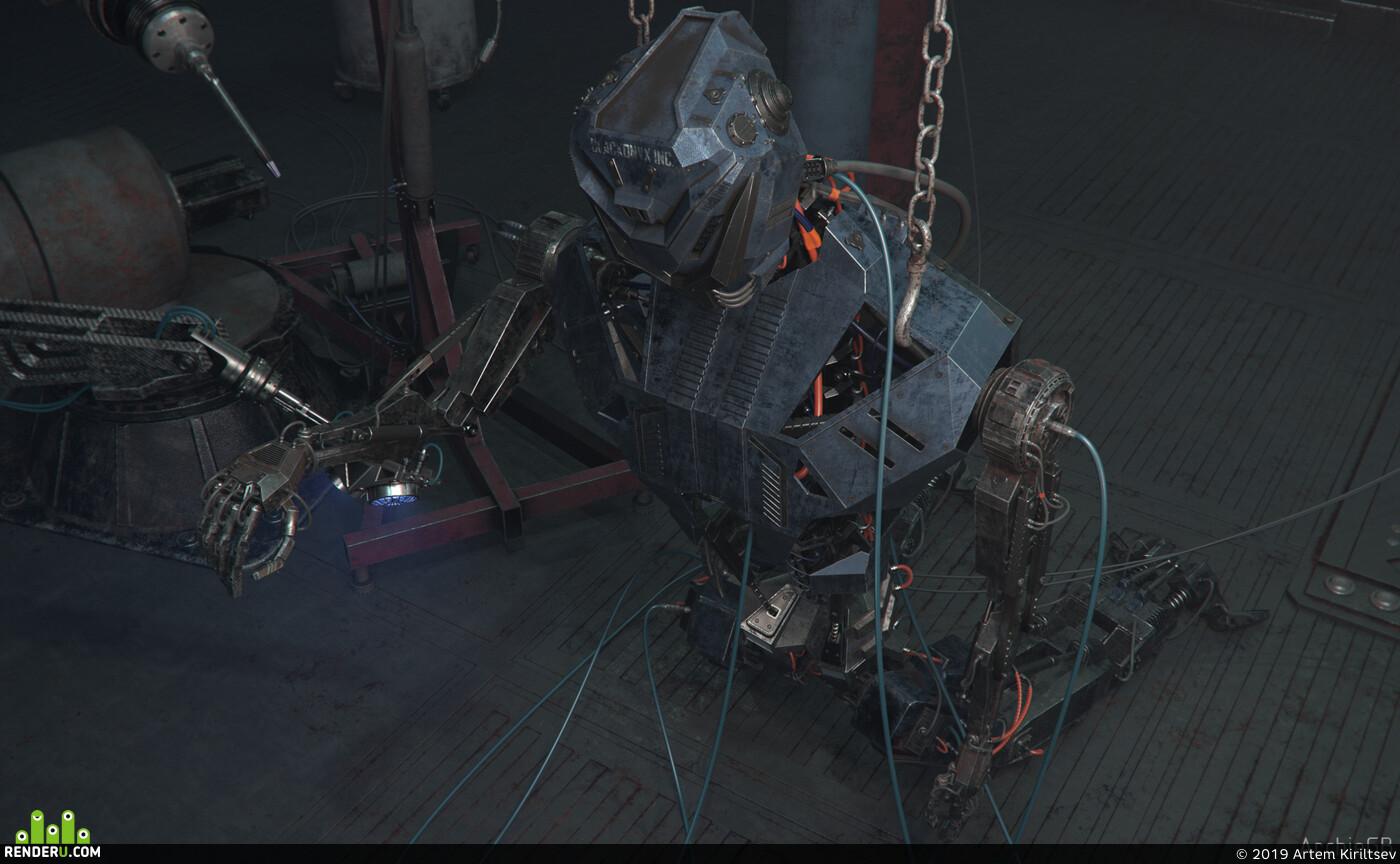 Ангар, лаборатория, робот