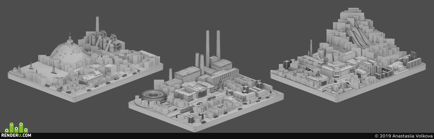 диорама, Город, завод, гора