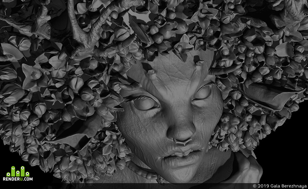 дриада, мифическоесущество, девушка, цветы