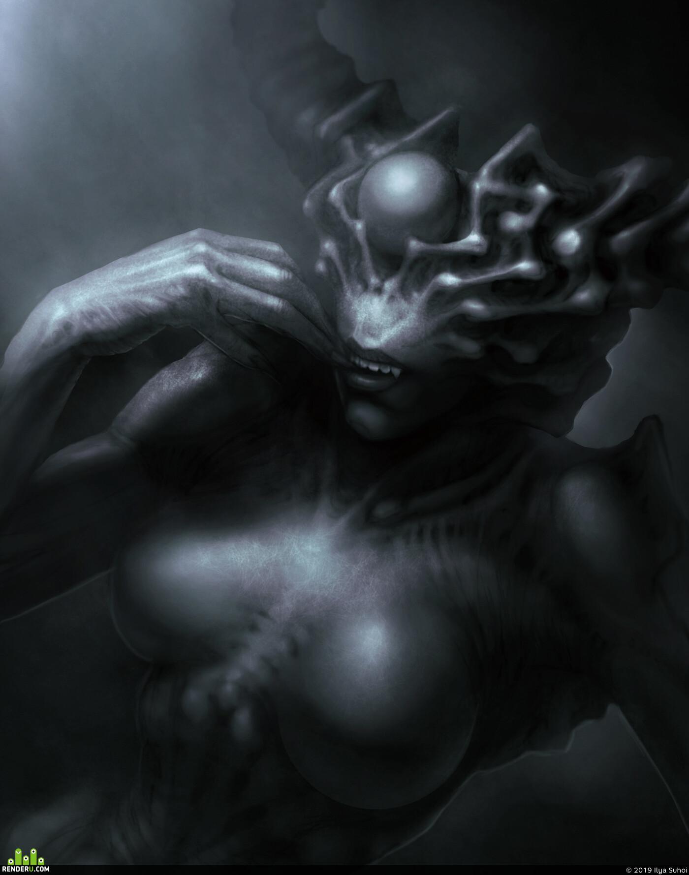 демон, Концепт-арт, Хоррор, фентези, 3D Эскизы