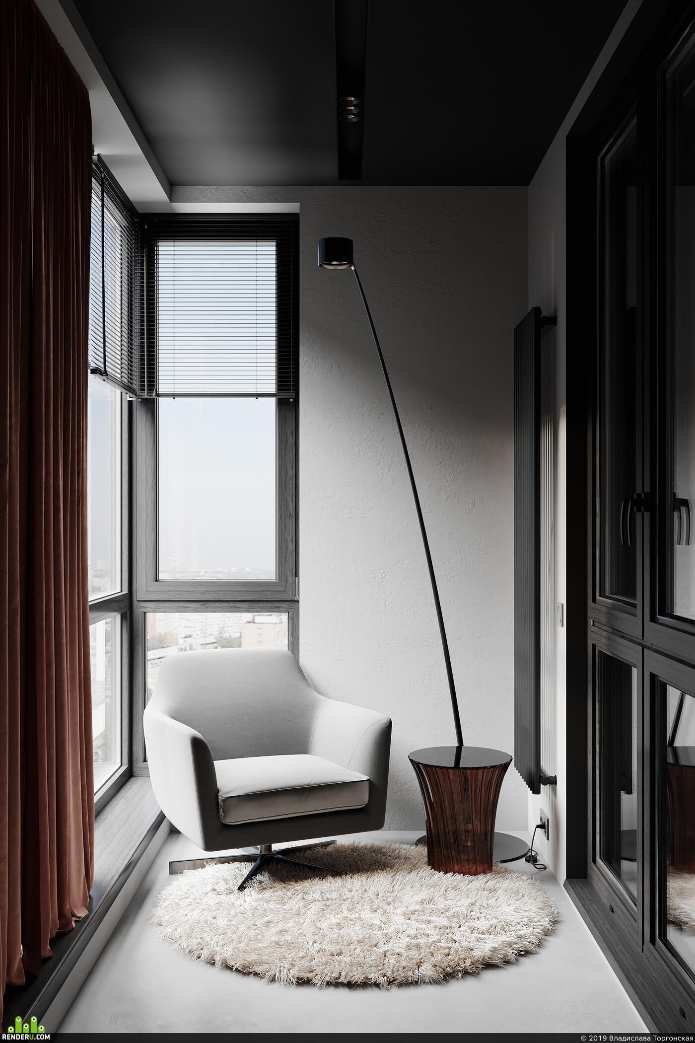 дизайн интреьера, визуализация, кухня, гостиная, Спальня, ванная комната, балкон