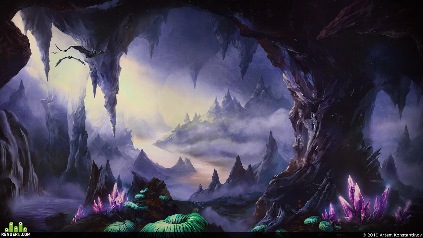 Фэнтези, пещера, скалы