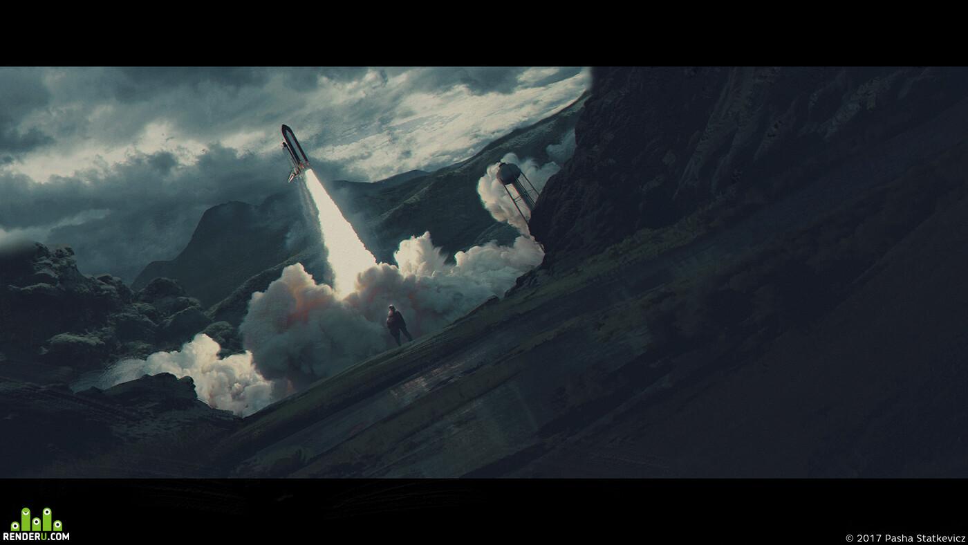 Концепт-арт, Иллюстрация, окружение, Космос