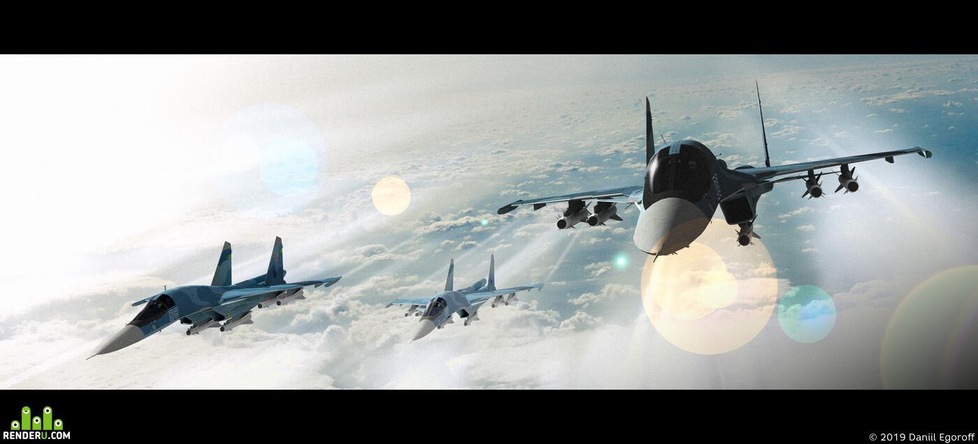 небо, Самолёты, бомбардировщик, война